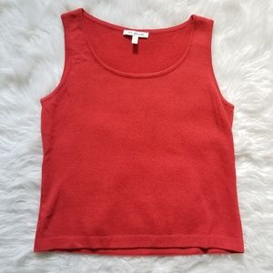 St. John Red Wool blend Knit Sleeveless Top Small